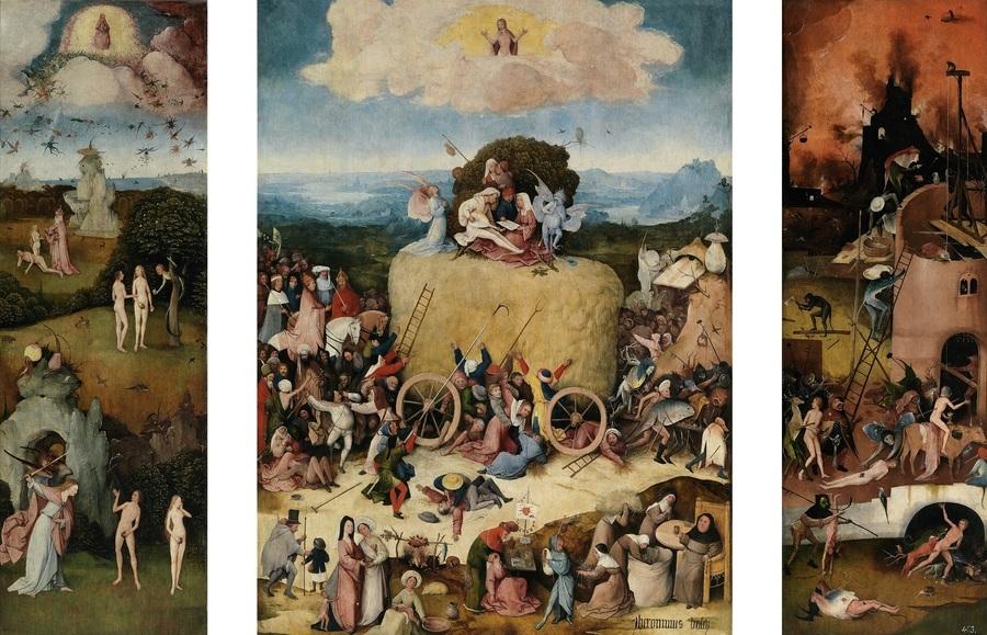 波殊(Hieronymus Bosch)的三折畫《乾草車》