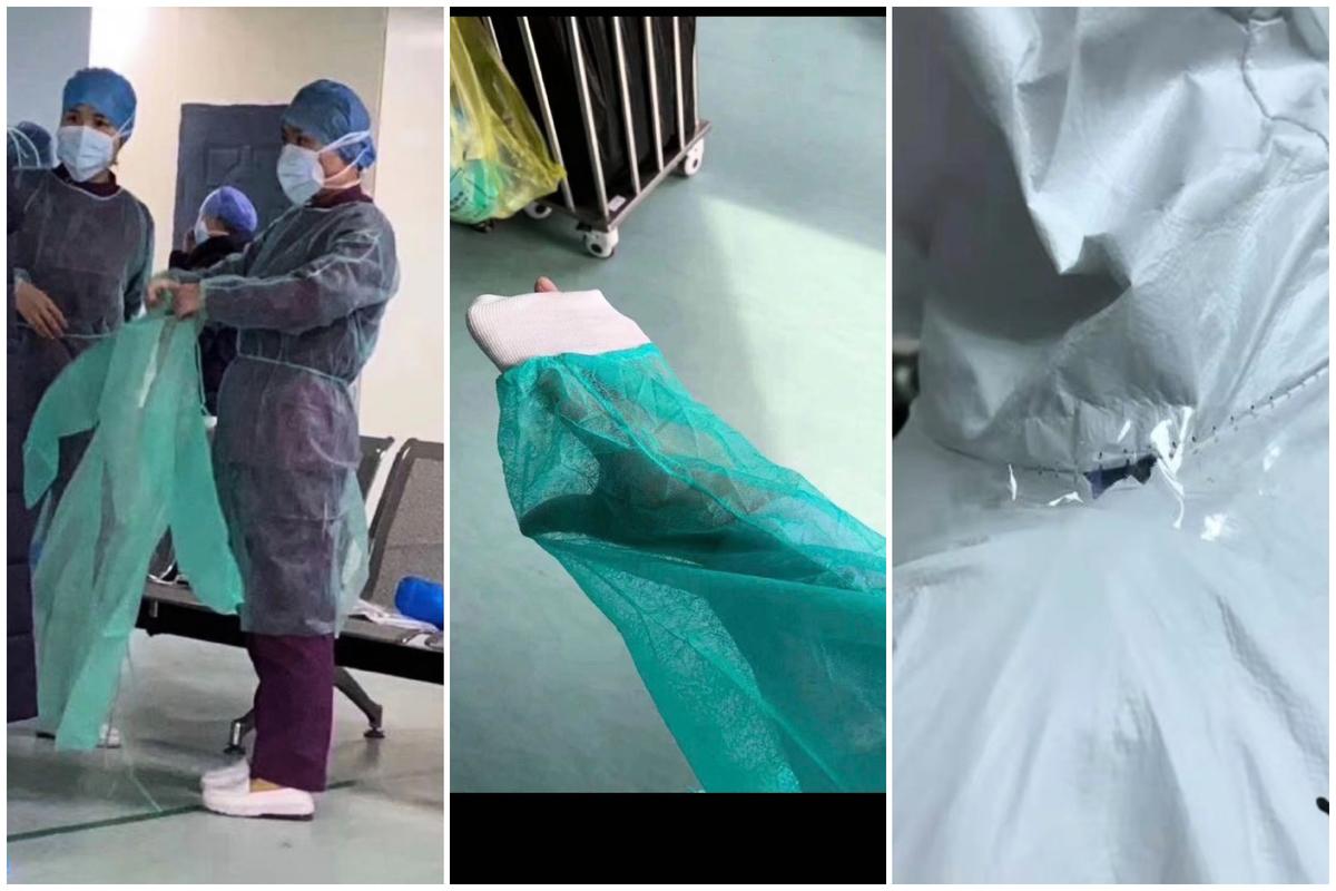 2020年2月,中心醫院醫護人員展示身上穿的薄如羽翼和已經開裂的防護衣。(網絡圖合成)