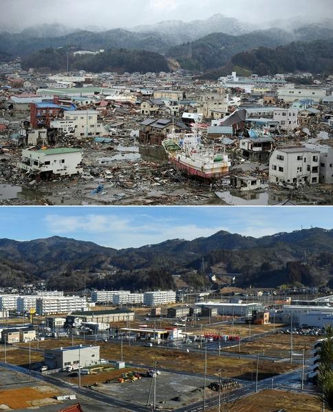 日本311大地震重災區宮城縣氣仙沼市(Kesennuma,Miyagi)的今昔對比圖。上圖攝於2011年3月13日,下圖攝於2021年3月4日。(PHILIPPE LOPEZ,KAZUHIRO NOGI/AFP via Getty Images)