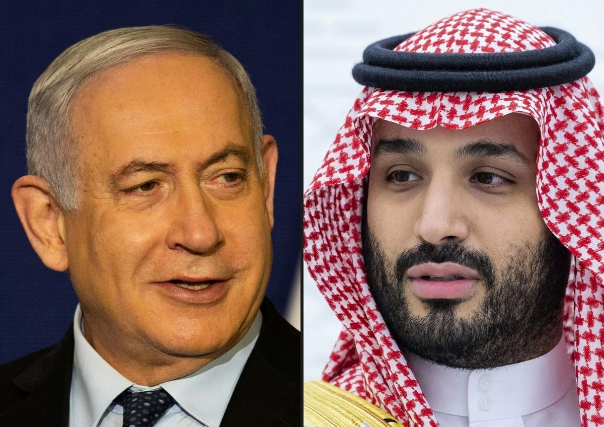 2020年11月19日,以色列總理本傑明·內塔尼亞胡(Benjamin Netanyahu,左)在耶路撒冷發表聲明;2020年11月22日,沙特王儲穆罕默德·本·薩勒曼(Mohammed bin Salman)在利雅得舉行的20國集團首腦會議上講話。(Maya Alleruzzo and Bandar AL-JALOUD/various sources/AFP)