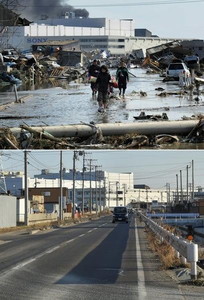 日本311大地震重災區宮城縣多賀城市(Tagajo,Miyagi)的今昔對比圖。上圖攝於2011年3月13日,下圖攝於2021年3月14日。(KAZUHIRO NOGI/AFP via Getty Images)
