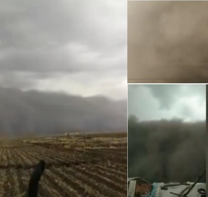 吉林省白城市今天遭遇沙塵暴。(影片截圖合成)