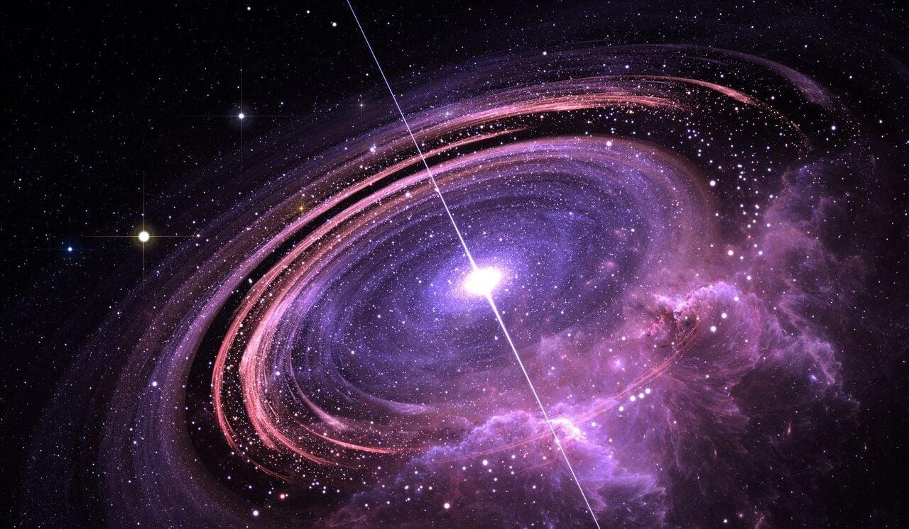 天文學家們發現了一顆有史以來觀測到的最亮的類星體,亮度達太陽的600萬億倍。圖為示意圖。(ShutterStock)