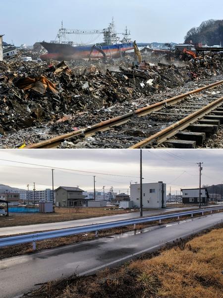 日本311大地震重災區宮城縣氣仙沼市(Kesennuma,Miyagi)的今昔對比圖。上圖攝於2011年4月7日,下圖攝於2021年3月4日。(KAZUHIRO NOGI/AFP via Getty Images)