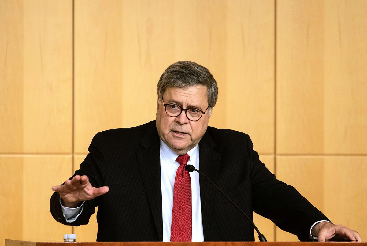 2019年10月3日,美國司法部長美國司法部長威廉姆.巴爾(William Barr)在「證券交易委員會刑事協調會議」上。(NICHOLAS KAMM/AFP)