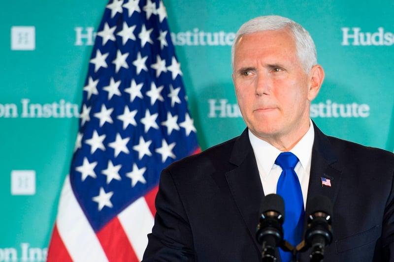 美國副總統彭斯10月4日披露中共的惡意影響活動,指責中共干涉美國內政。(JIM WATSON/AFP/Getty Images)