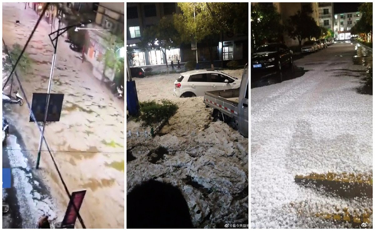 2020年4月9日晚,陝西商洛市商南縣突降暴雨冰雹,路面瞬間被冰雹鋪滿,街道成冰河。(網絡圖片)