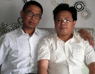 中國人權活動人士、作家劉賢斌,於6月27日刑滿出獄被當局劫持。左為劉賢斌,右為陳衛。(網絡圖片)