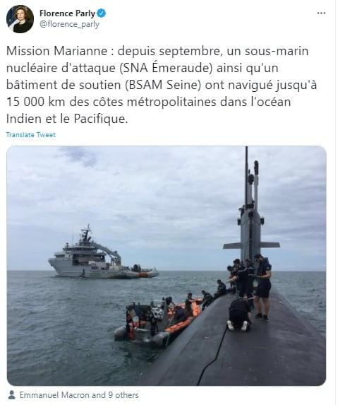 法國國防部長帕爾麗(Florence Parly)上個月帖文指出該國艦艇已在南海等印太海域巡航。(帕爾麗推特)