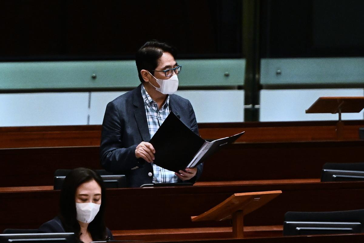 7月7日香港立法會內會議情況。(宋碧龍/大紀元)