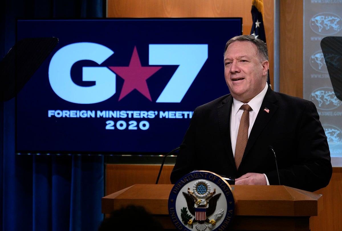 美國國務卿蓬佩奧(Mikes Pompeo)周三(3月25日)表示,七國集團(G7)在周三舉行了一次網上虛擬會議,在會上討論了中國(中共)針對疫情所展開的「虛假宣傳活動」。(ANDREW CABALLERO-REYNOLDS/AFP)