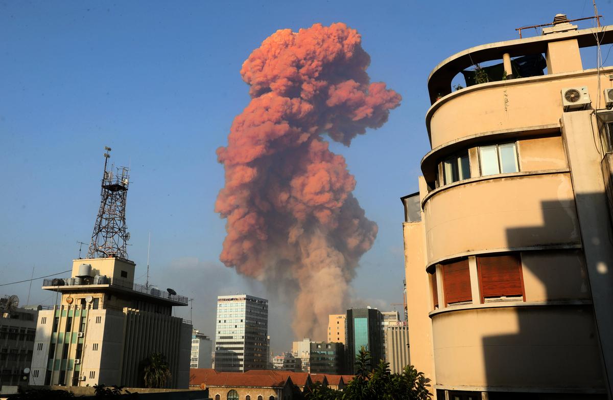 2020年8月4日,黎巴嫩首都貝魯特(Beirut)發生大規模爆炸。(ANWAR AMRO/AFP)