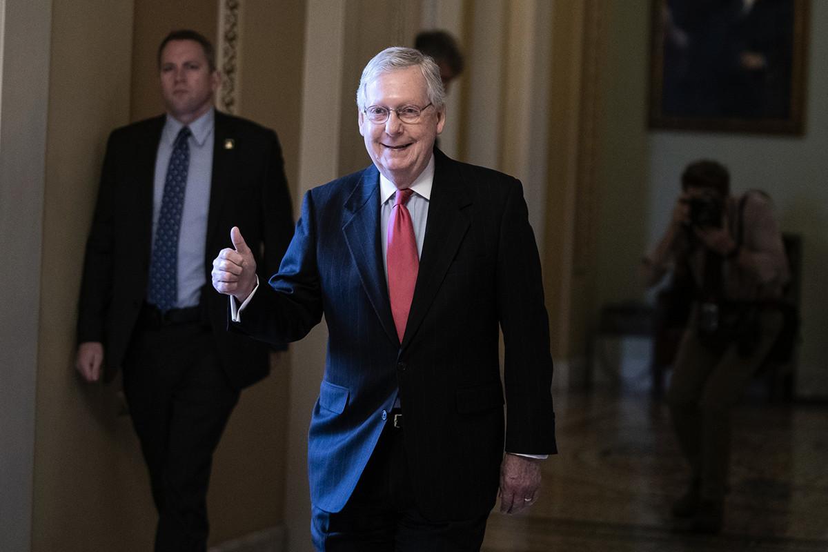 參議院共和黨領袖米奇‧麥康奈爾(Mitch McConnell)已成功擊敗民主黨挑戰者,贏得第七個參議員任期。(Alex Edelman/AFP)