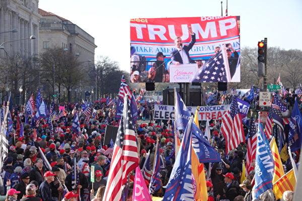 2020年12月12日,美國華盛頓DC舉辦制止竊選、支持特朗普連任」的大型遊行集會活動。(Jenny Jing/大紀元)