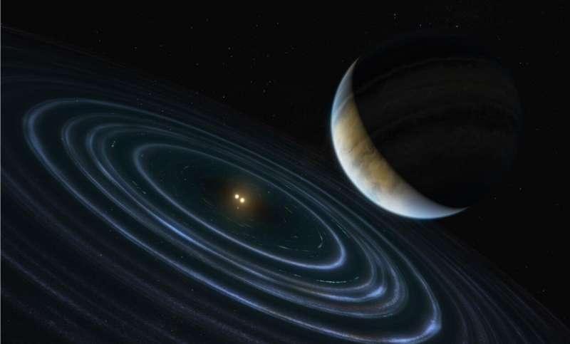 哈勃望遠鏡發現的一個距離我們336光年的雙恆星系統藝術假想圖。(NASA, ESA, Hubble)