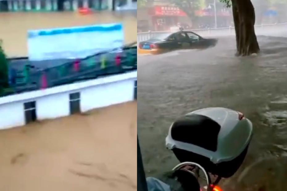 近期,廣西河池市洪水嚴重,下轄大化縣洪水將多條街淹沒。(影片截圖合成)