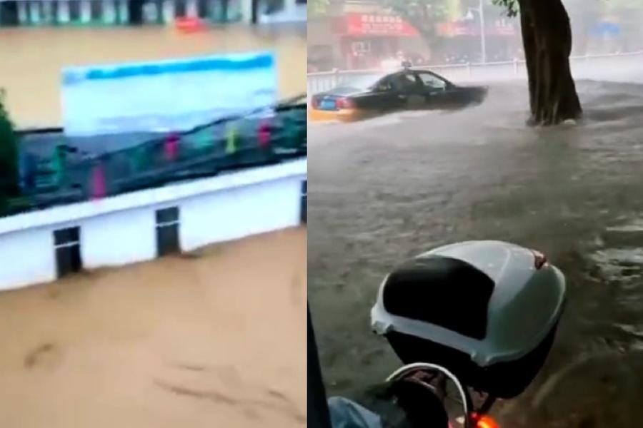 大陸南北方都降雨 廣西河池多條街被淹沒
