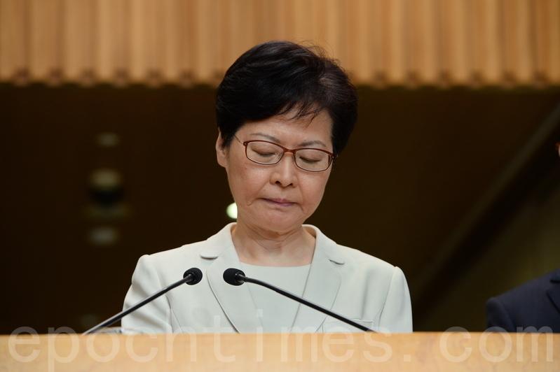 香港特首林鄭月娥的市民評分再次降低,反對她的比例首次升至80%。圖為5日,林鄭在特首辦召開記者會。(宋碧龍/大紀元)