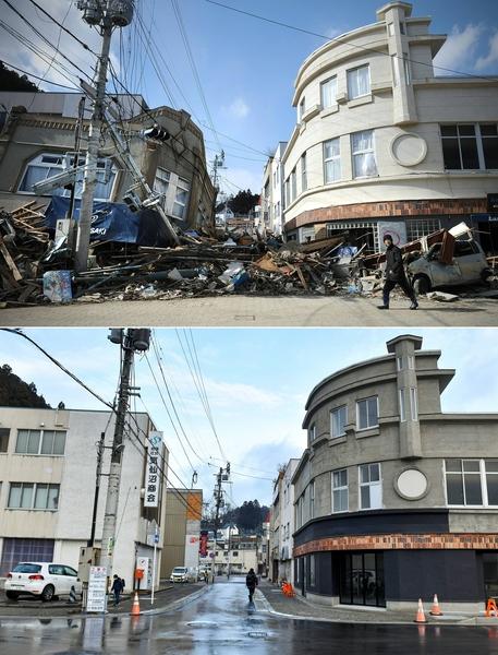 日本311大地震重災區宮城縣氣仙沼市(Kesennuma,Miyagi)的今昔對比圖。上圖攝於2011年3月18日,下圖攝於2021年3月4日。(KAZUHIRO NOGI/AFP via Getty Images)