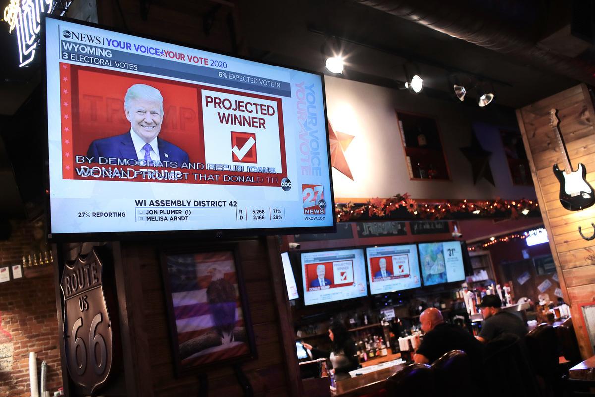 2020年11月03日,美國威斯康辛州簡斯維爾(Janesville),酒吧的民眾正在觀看總統大選的電視節目。(Scott Olson/Getty Images)