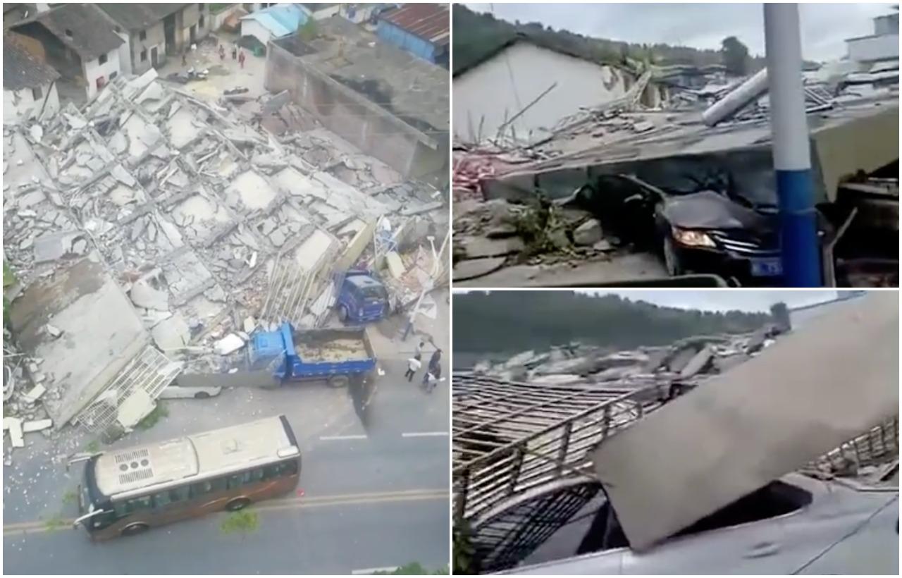 周六(6月19日),湖南省郴州市汝城縣盧陽鎮一棟民房發生坍塌,幾乎夷為平地。(影片截圖)