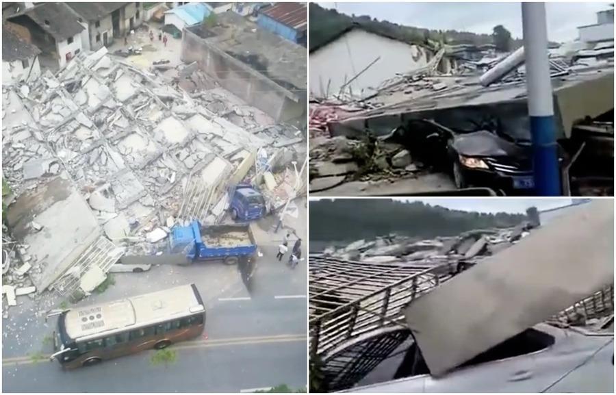 湖南七層民房瞬間倒塌 陸媒低調報道