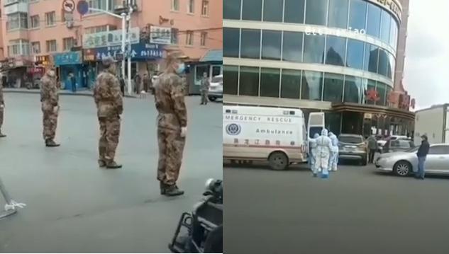 網傳影片顯示,黑龍江省哈爾濱市道外區草市街市場上,有軍人直接在街頭站崗。(影片截圖合成)