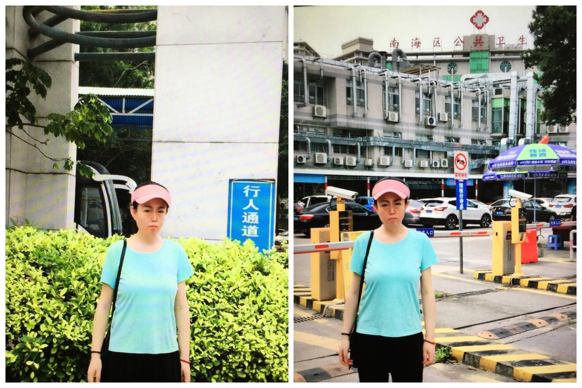 近日,牛騰宇的母親到救治兒子的佛山市南海區羅村醫院(又稱佛山市南海區公共衛生醫院)走訪。(受訪者提供)