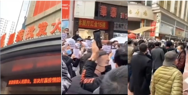 湖南株洲服裝批發市場外,民眾要求減租。(影片截圖)
