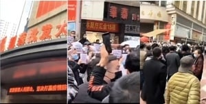 【現場影片】株洲服裝批發市場外民眾要求減租