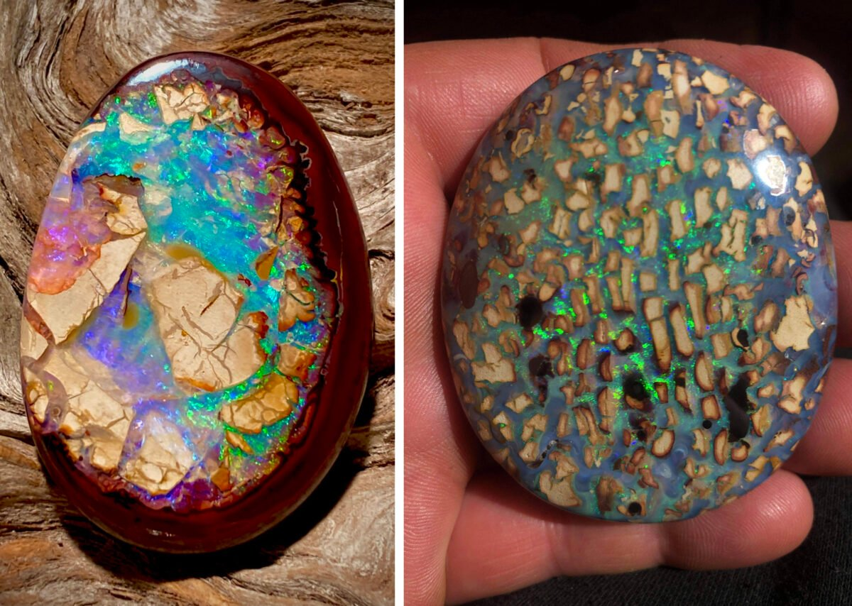 艾薩克和索菲亞近期在戶外尋寶的時候,意外挖出了數千塊色澤絢麗的珍貴蛋白石。(艾薩克提供)