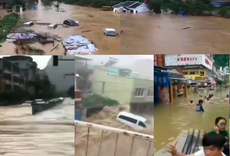近期,廣西持續強降雨,洪澇已導致323,468人受災,一人被雷擊致死。(影片截圖合成)