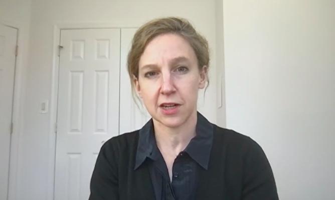 1月28日,美國華府智囊機構「長期策略集團」的主席兼執行官傑奎琳·迪爾(Jacqueline Deal)以遠程影片的方式參加USCC的聽證會。(USCC截圖)