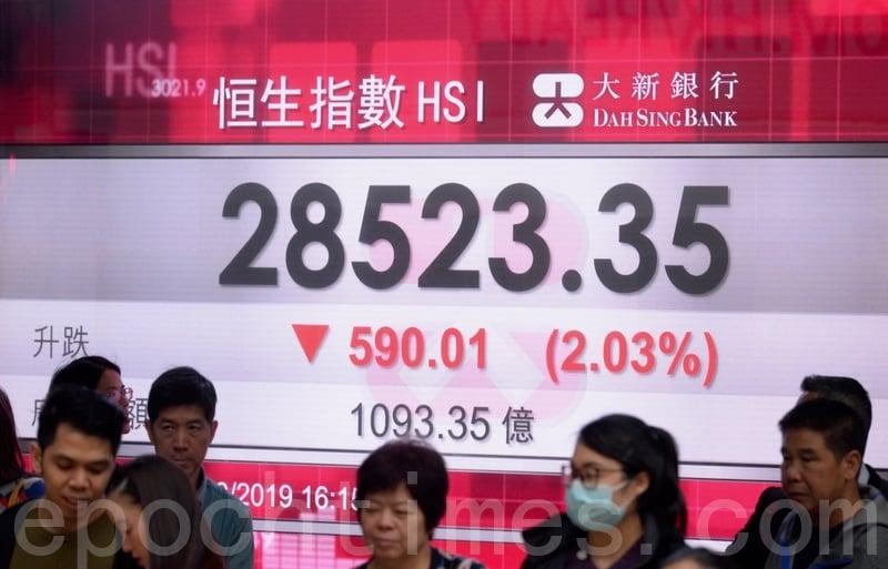 中紀委發文呼籲9百萬黨員炒股救市。圖為香港股市25日收市情況。(宋碧龍/大紀元)