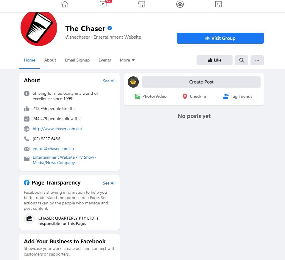「The Chaser」 FB頁面。(網絡截圖)