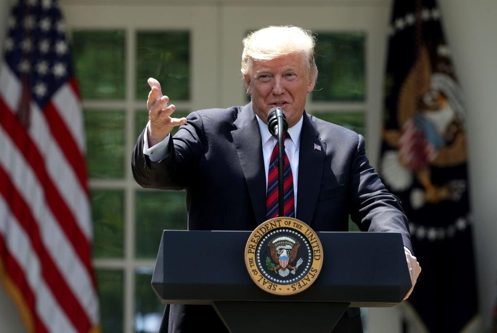 美國總統特朗普5月16日在白宮玫瑰花園正式宣佈全面移民改革和政策新框架,目標是重建美國移民體系,使之成為令世界羨慕的完善系統。 (Alex Wong/Getty Images)