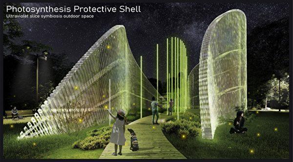 台科大設計的「仿生光合作用保護殼」奪紐約ADC藝術指導協會學生金獎。(台科大提供)