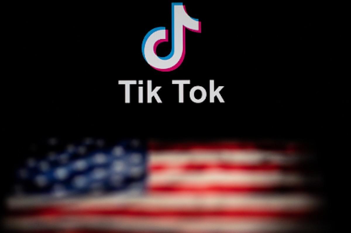 中國科技公司字節跳動的短片社交應用程式抖音的海外版TikTok標識。(NICOL ASFOURI/AFP via Getty Images)