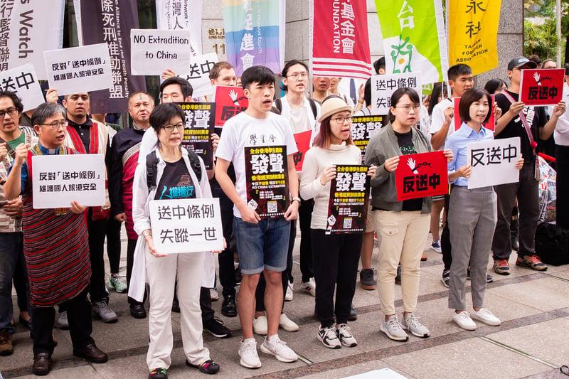 台灣NGO及百位在台港生抗議引渡條例