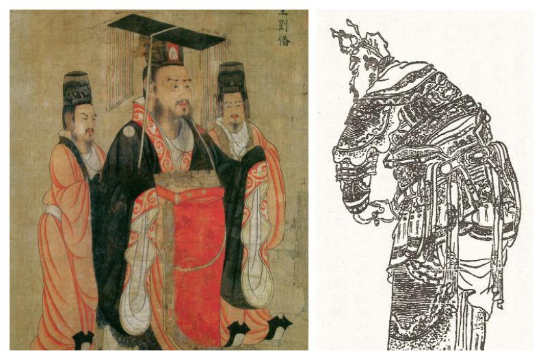 左為劉備像,出自《歷代帝王圖》;右為張飛像。(公有領域/大紀元合成)