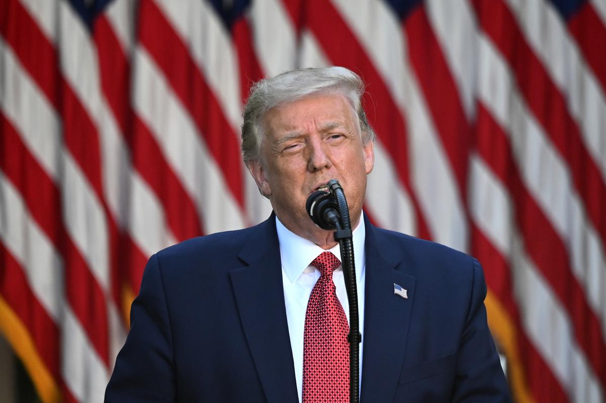 美國總統特朗普7月14日下午5點半在白宮玫瑰園舉行跟中國相關的主題新聞會。(JIM WATSON/AFP)