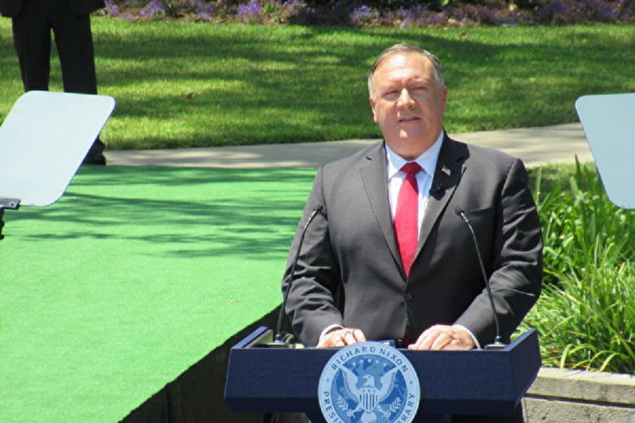 美國國務卿蓬佩奧2020年7月23日在加州發表對中共重磅演講。(姜琳達/大紀元)