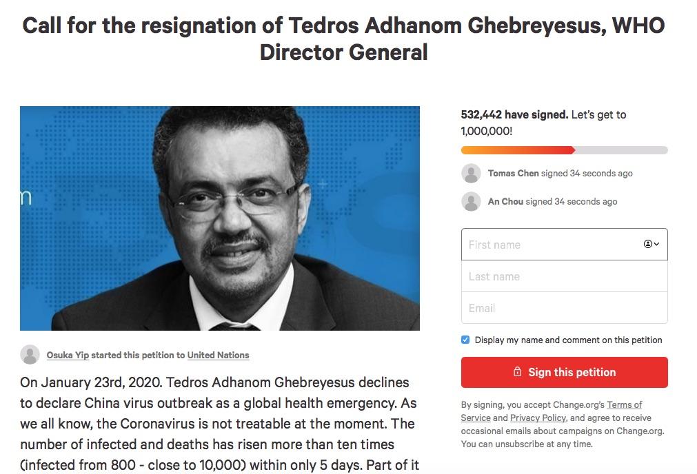 加拿大網民Osuka Yip在非政府組織Change.org發起的連署書,對象是WHO隸屬的聯合國,內容指控譚德塞失職。至今有超過50萬人簽署。(網絡截圖)