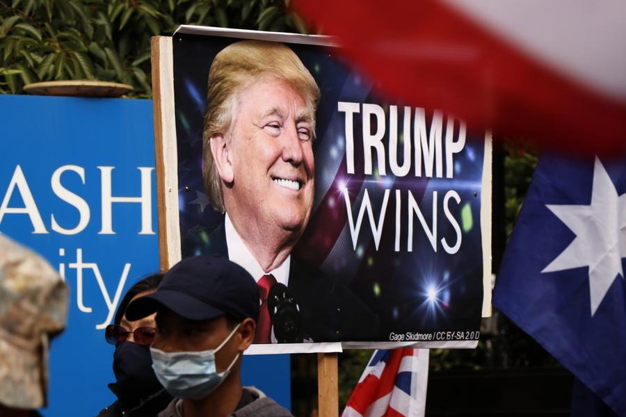 抗議美國大選舞弊 澳洲墨爾本民眾集會遊行