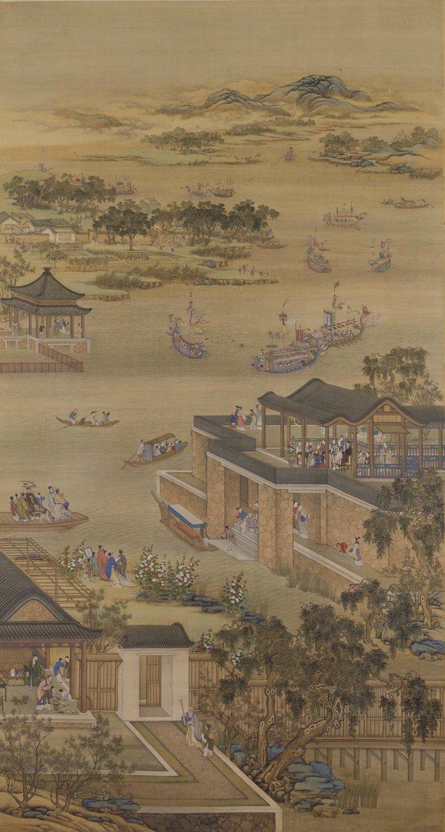 清 郎世寧《雍正十二月行樂圖》之《五月競舟》。(公有領域)