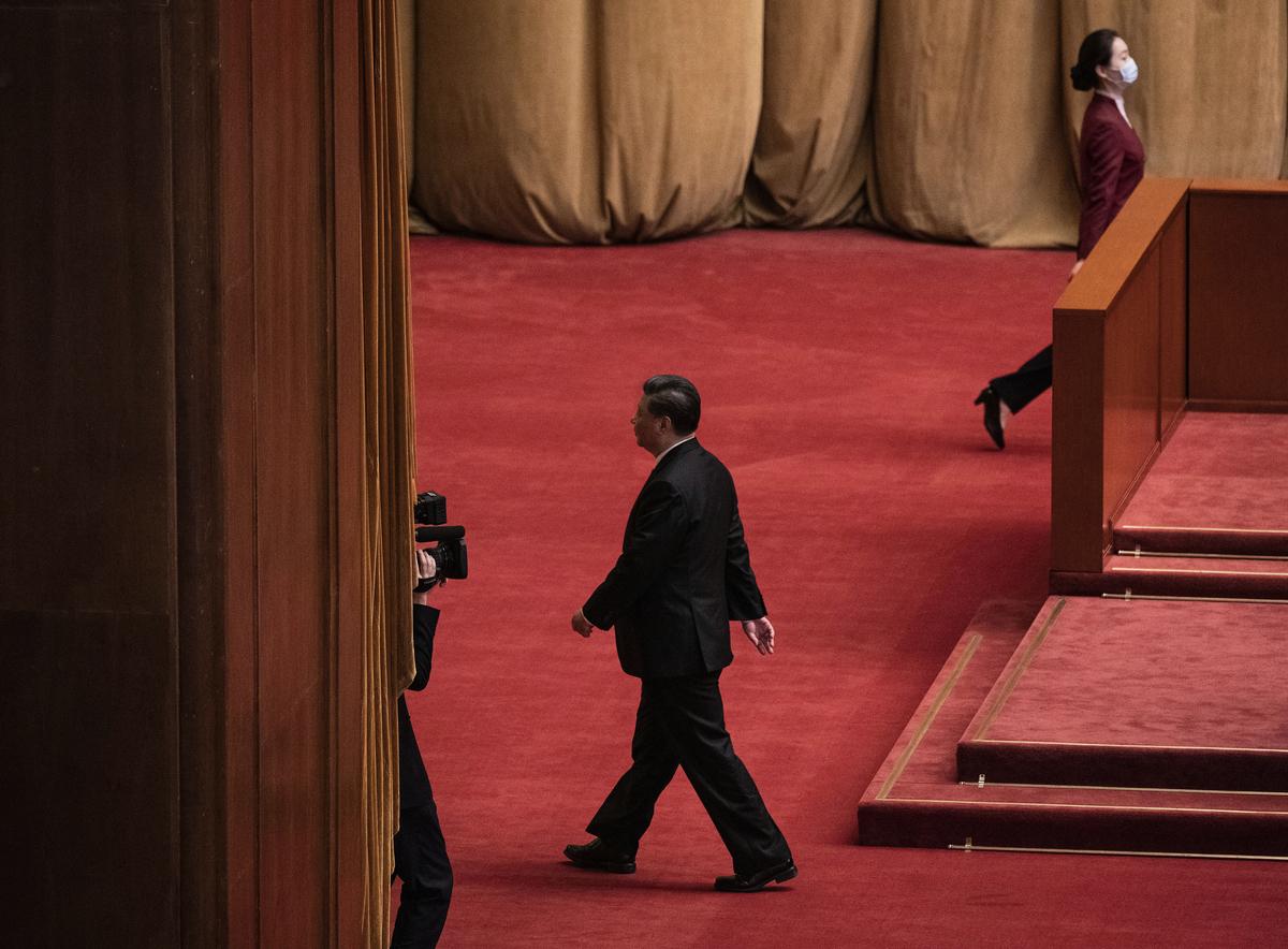 2020年10月23日,習近平參加在人民大會堂的紀念韓戰70周年活動後,離開會場。(Kevin Frayer/Getty Images)