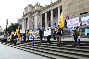 澳墨爾本集會 抗議州長盲目簽「一帶一路」