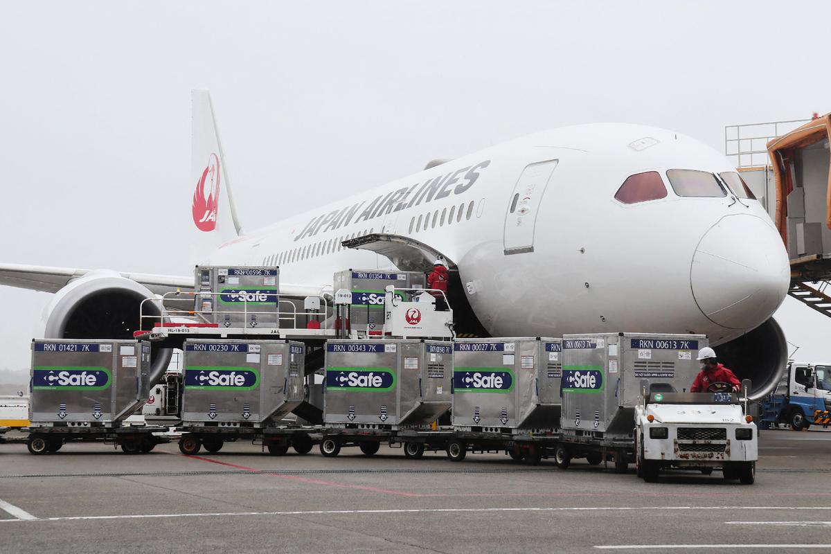 日本捐贈124萬劑阿斯利康疫苗給台灣,讓許多台灣人相當感動。圖為2021年6月4日,日本航空公司(Japan Airlines)的飛機準備從成田機場載運這些疫苗前往台灣。(STR/JIJI PRESS/AFP via Getty Images)
