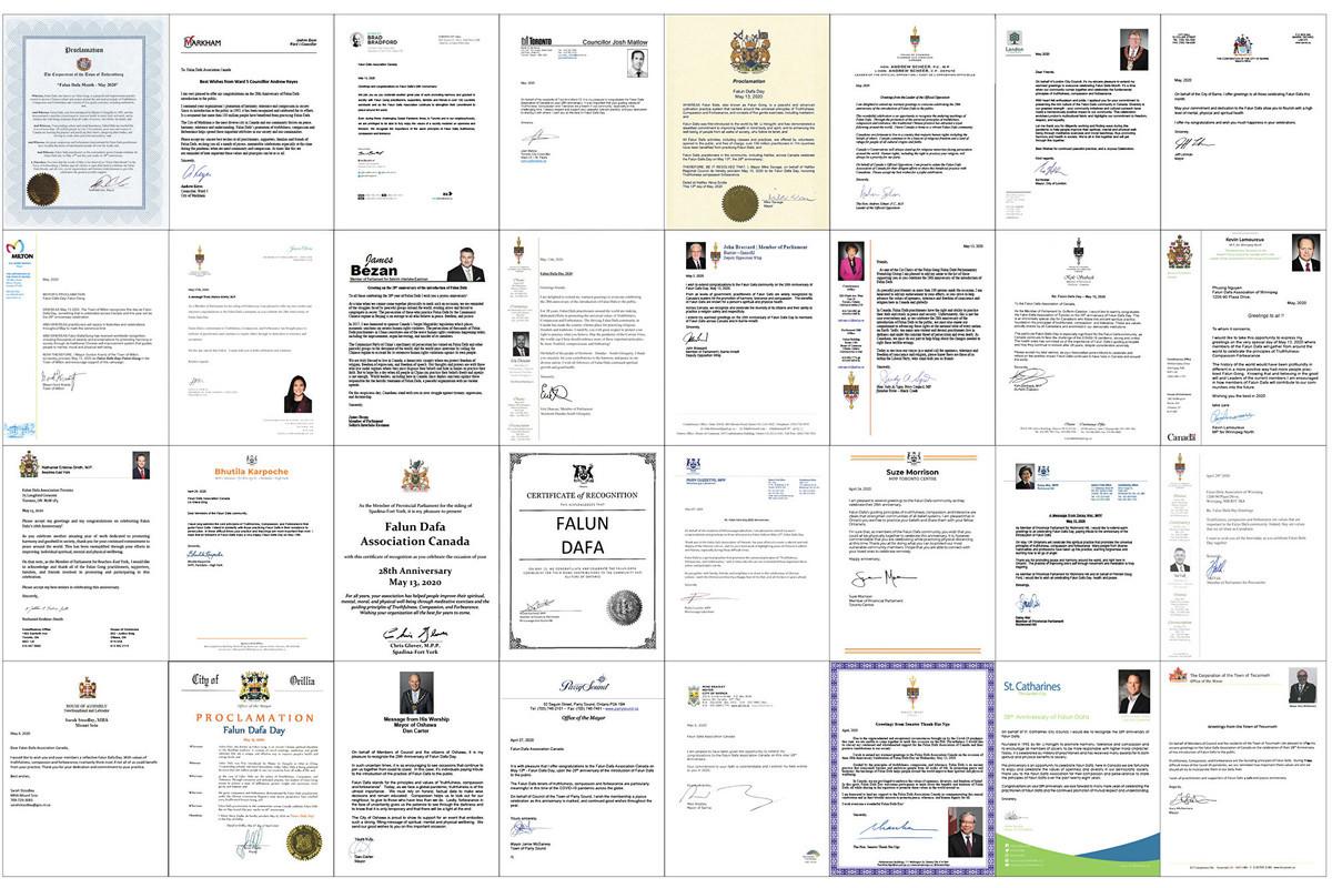 2020年5月13日是法輪功(也稱法輪大法)開傳28周年紀念日,加拿大聯邦、省、市議員紛紛向法輪大法學會發來賀信、嘉獎令和褒獎。(大紀元合成圖)