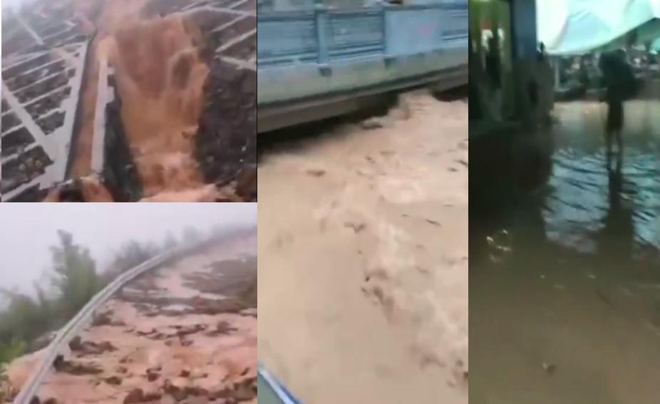 洪水將重慶萬州城區道路淹沒,多地鄉鎮農貿市場亦被淹。(影片截圖合成)